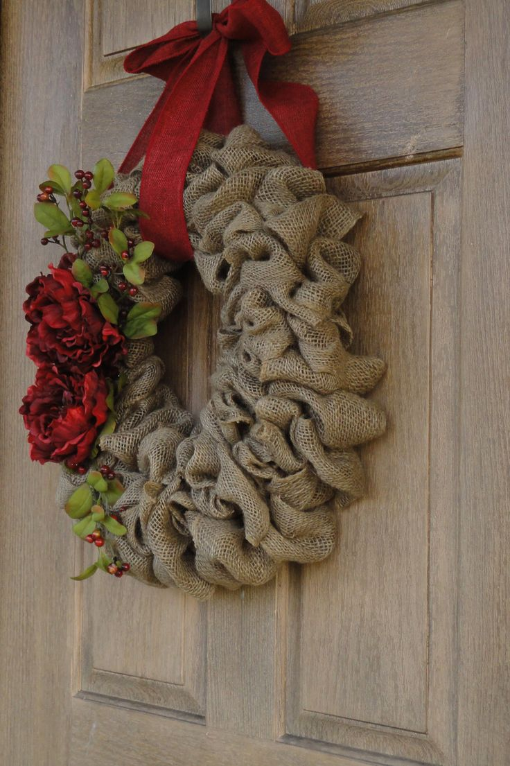 Holiday Burlap Wreath--Christmas Burlap Wreath with Red Peony Flowers and Berries. $60.00, via Etsy.