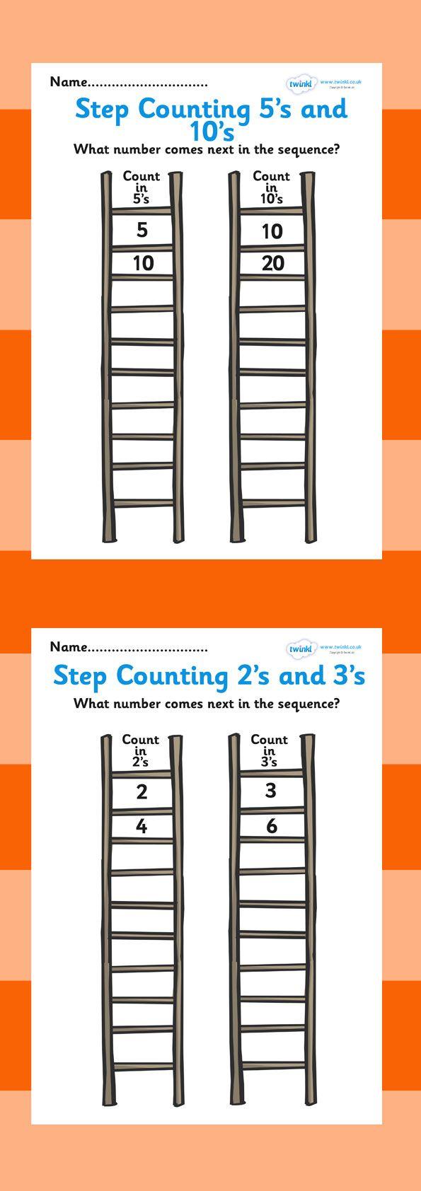 Step Counting Worksheet. Free printable. School. Home.