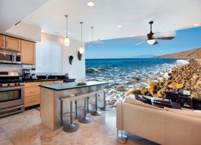 фотообои, кухня, море, побережье, камни