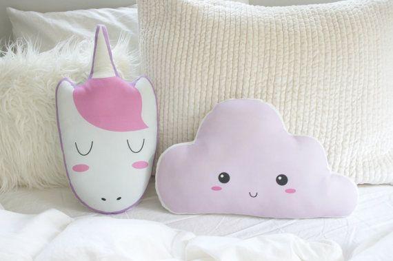 Sleeping Unicorn Pillow Plush Toy Pink Unicorn by DearVioletShop