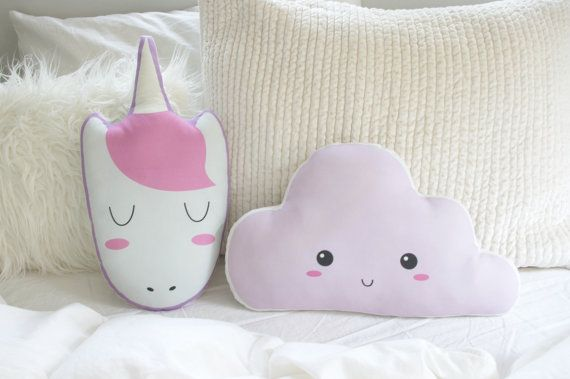 Sleeping Unicorn Pillow Plush Toy Pink Unicorn by DearVioletShop
