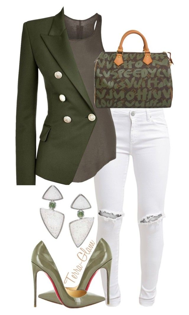 Boss Up Ya Life by terra-glam on Polyvore featuring polyvore fashion style Rick Owens Balmain FiveUnits Louis Vuitton Antonio Bernardo Christian Louboutin clothing