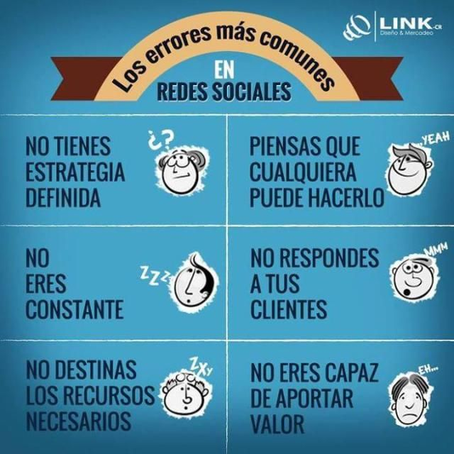 Errores habituales en Redes Sociales #infografia #infographic #socialmedia