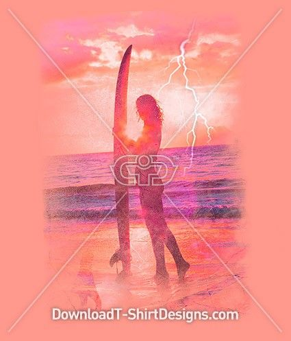 Surfer Girl Surfboard Silhouette Sunset. Download this design & print on your T-Shirts or products today