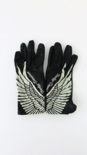 Women's Harley Davidson Black Leather Angel Wing Motorcycle Riding Gloves XS