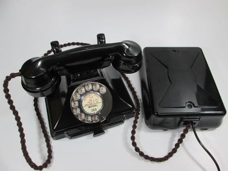 British 200 Series 1940's Bakelite GPO Telephone with Bakelite Bell set No26
