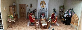 The salon in my dollhouse in my dollhouse that I build in a display cabinet