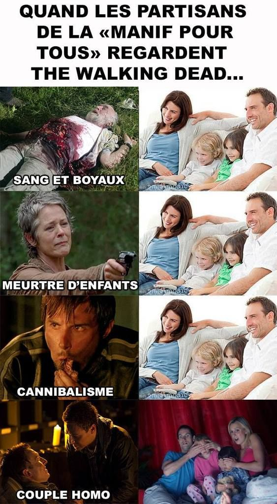 L'humour du jour : «Quand les partisans de la Manif pour tous regardent The Walking Dead...»