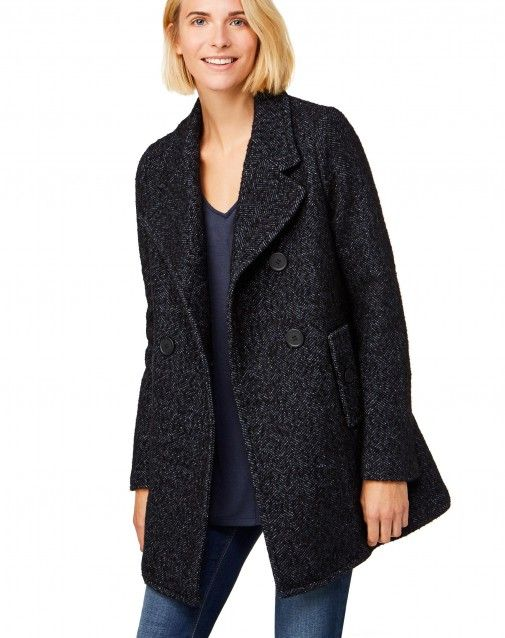 Shop Double-breasted herringbone coat Dark Blue for JACKETS AND COATS at the official United Colors of Benetton online shop.