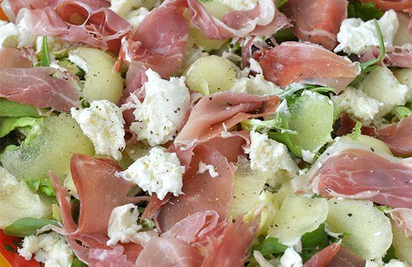 Salade met ham en meloen <3