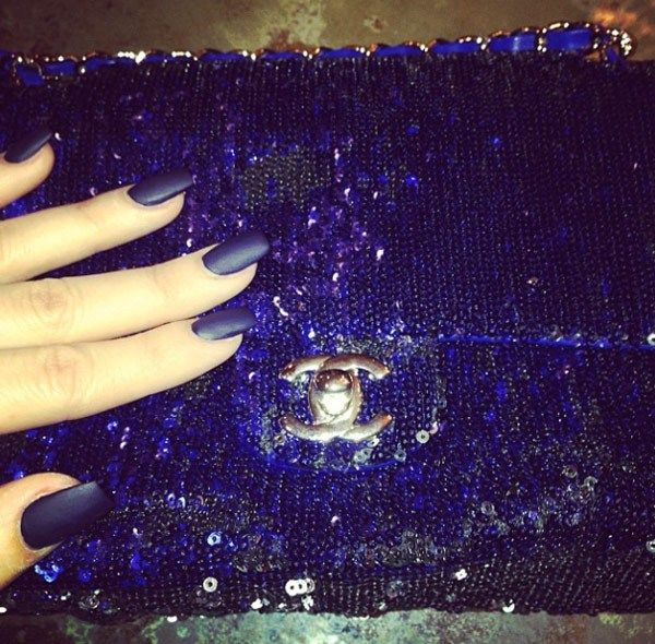 Khloe Kardashian's Blue Matte Nails