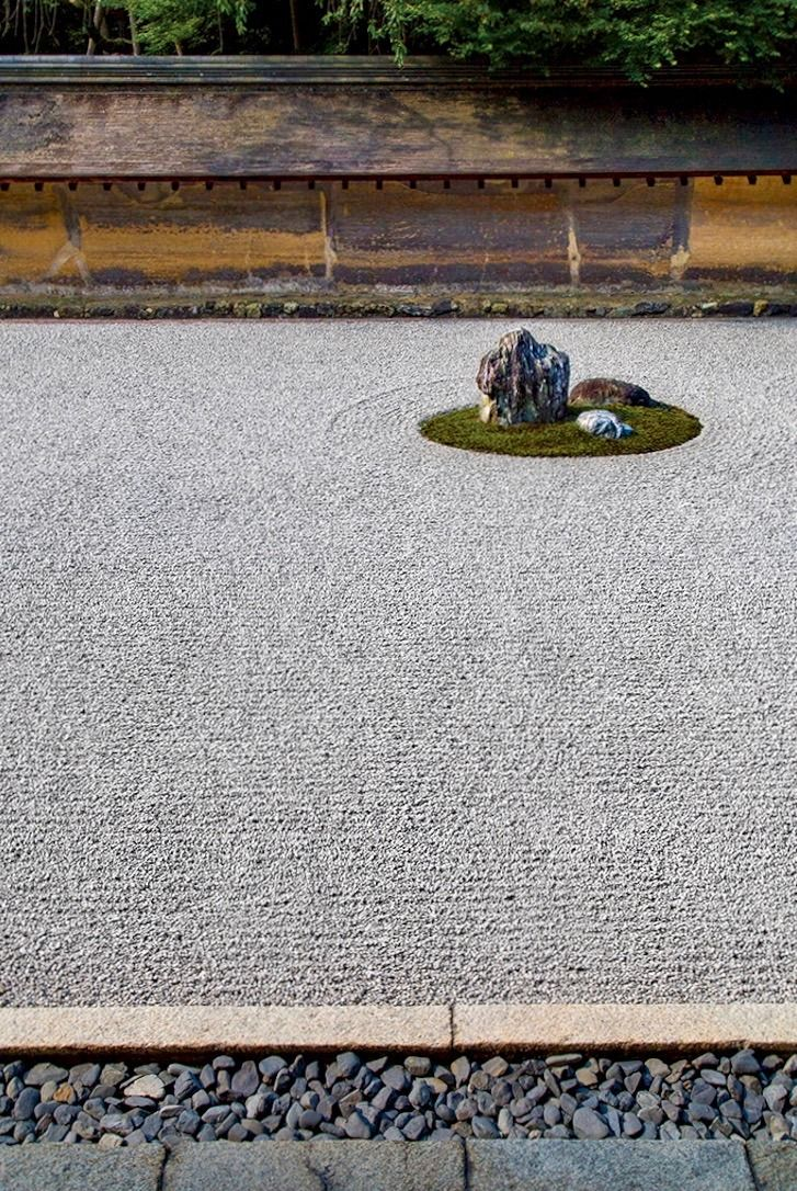 Less is more: In the traditional karesansui, or stone garden, at the Ryōanji temple in Kyōto, the only growing thing is a ring of moss around each stone.