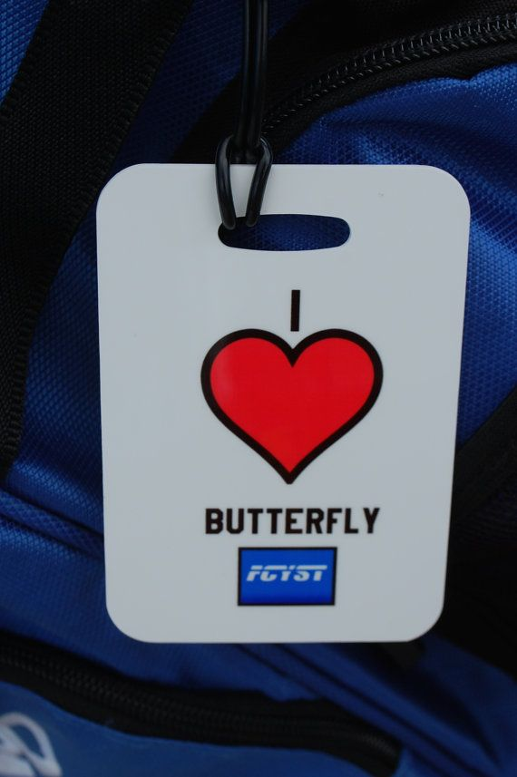 I Heart Butterfly Swim Bag Tag Sport Bag Tag Swim by FlipTurnTags, $5.95