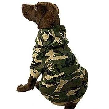 cotton camo dog hoodie soft fleece pocket and ribbed sleeves xsmall to xxl