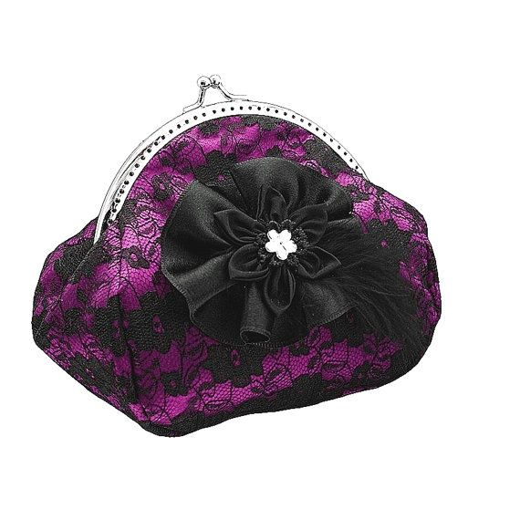 black and pink lace handbag frame clutch bag by FashionForWomen