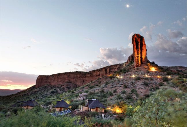 Vingerklip Lodge in Namibia. The name-giving rock towers over the little bungalows. Beautiful place; I´d love to go there again.