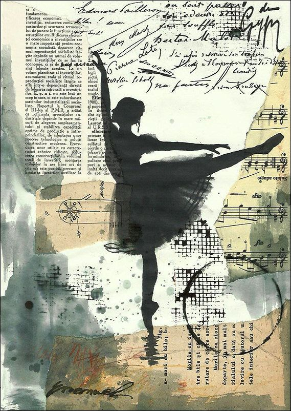 I really like the mixed media background with just the silhouette of the ballet dancer in front.