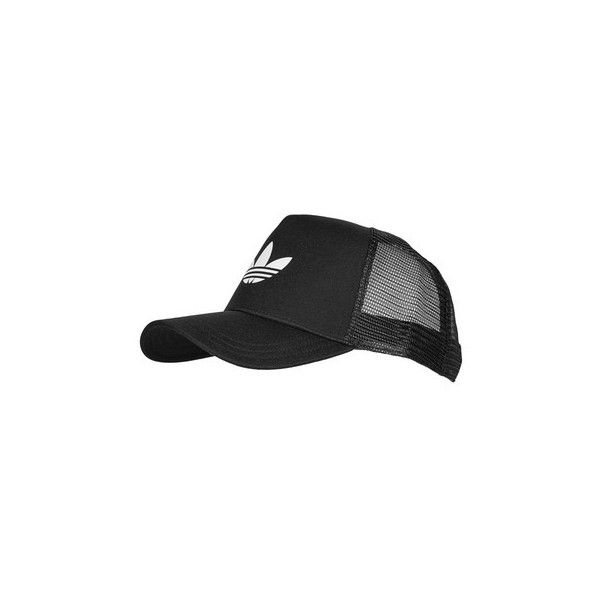 Trefoil Trucker Cap by Adidas Originals ($16) ❤ liked on Polyvore featuring accessories, hats, black, polyester hat, sports trucker hats, adidas, truck caps and trucker hats