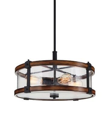 Shared from Flipp: Kichler Barrington 4-Light Black Metal and Distressed Wood Pendant Light in the Lowe's flyer