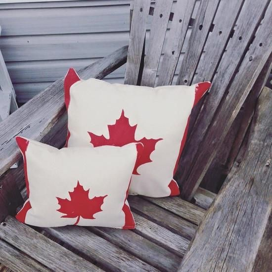 Maple Leaf pillow --  -- great piece of Canadiana for the cottage-lover on your Christmas list