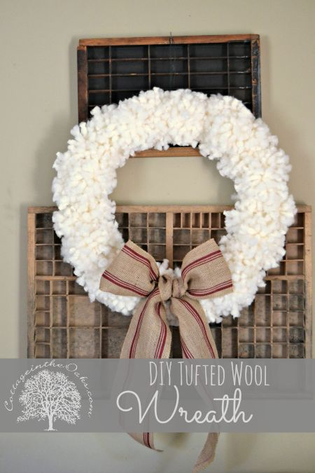 Anthropologie Inspired Tufted Wool Wreath. Seems like red or green or all three colors would be nice too!