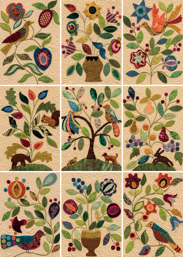 Wool-applique quilt blocks from My Enchanted Garden folk art,gypsy scandi style art quilt...great gift to give or make for a wedding as these were often created for gifts of luck as love quilts for newly weds with panels by different female family members..love the colours,flowers and birds