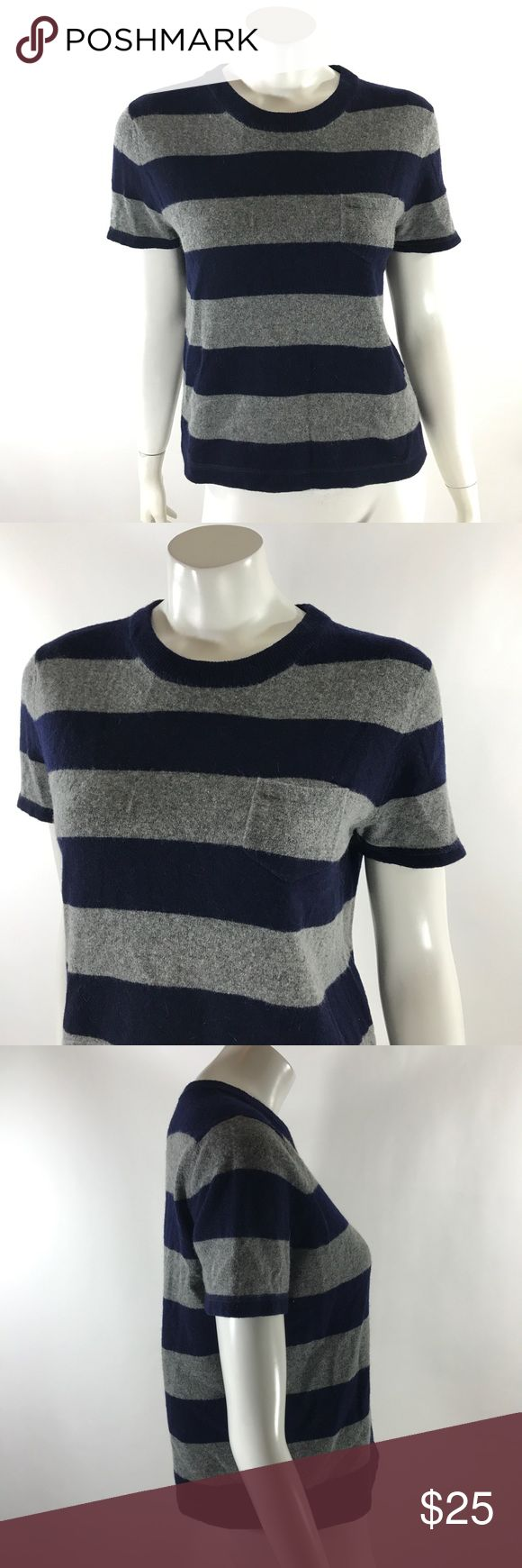 J Crew Short Sleeve Sweater Large Lambswool Boxy J Crew Womens Short Sleeve Sweater Size Large Lambswool Boxy Style Pocket. Measurements: (in inches) Underarm to underarm: 19 in Length: 22 in  Good, gently used condition J. Crew Sweaters Crew & Scoop Necks