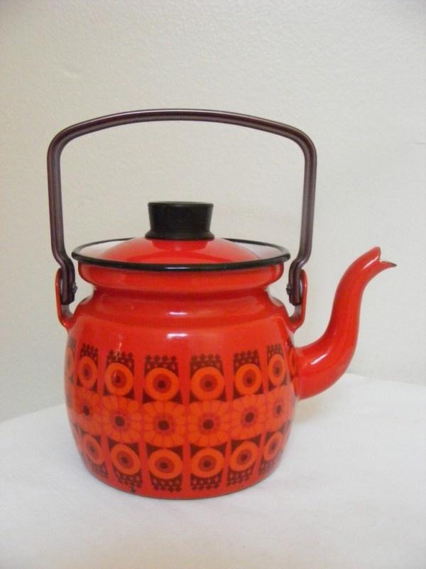 Vintage FINEL Porcelain Metal RED Enamel Mini Tea pot Kettle Finland 60s MOD | eBay