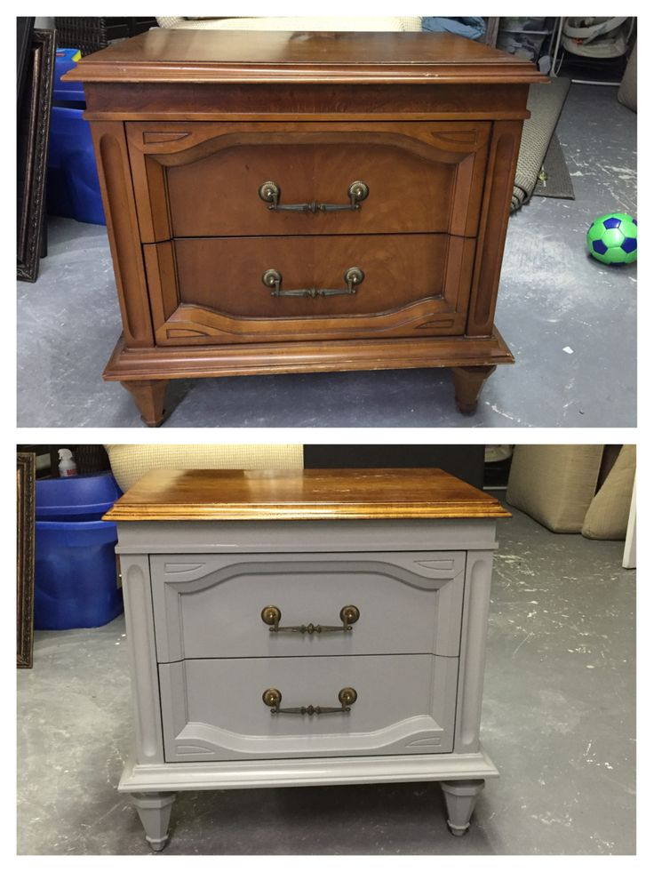 Bedside table makeover: $30 table stripped, sanded, stained and painted with homemade chalk paint.