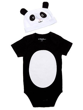 Body + bonnet panda noir Bébé garçon