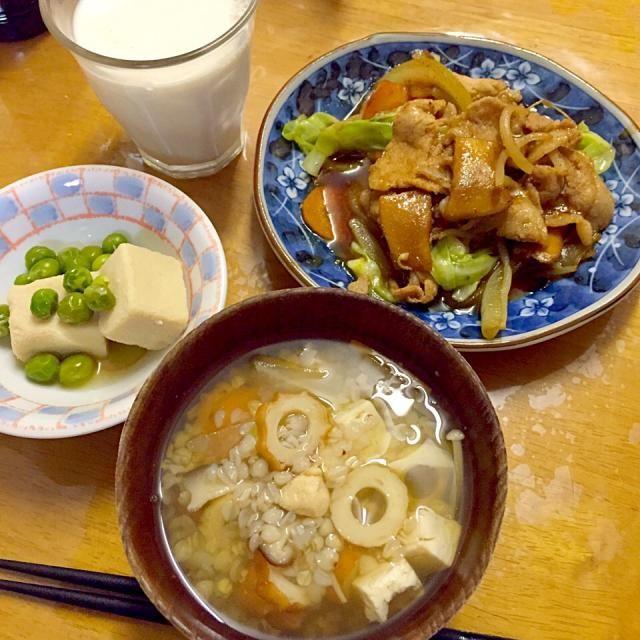 #自宅メシ - 17件のもぐもぐ - 蕎麦米汁、高野豆腐、豚肉炒め by maixx0419