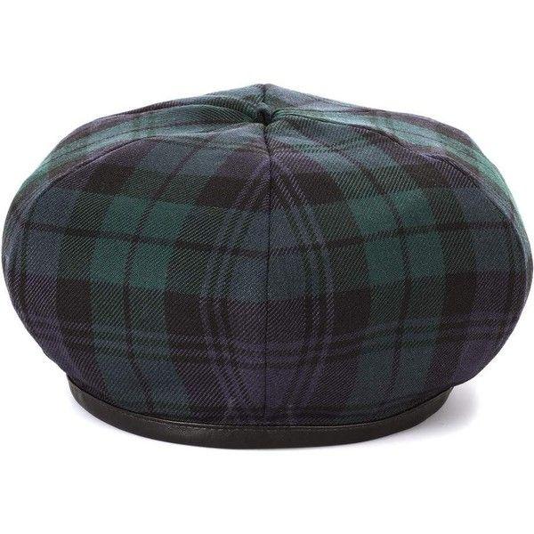 Miu Miu Plaid Wool Beret ($325) ❤ liked on Polyvore featuring accessories, hats, green, tartan hat, woolen hat, wool beret, wool beret hat and miu miu