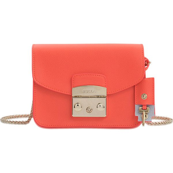 Furla Metropolis Clutch ($260) ❤ liked on Polyvore featuring bags, handbags, clutches, orange, clasp purse, red purse, orange purse, orange handbags and furla purses