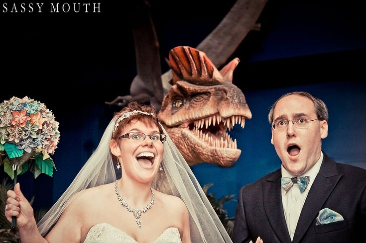 Dinosaur Wedding Picture Geek Chic Wedding - CT Science Center - Sassy Mouth