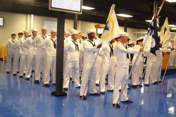 My US Navy boot camp graduation - RTC Great Lakes - June 2006 (I'm the one second to last on the left)