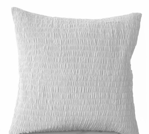 White Cotton Pillow -Ruched white pillow - Pure white cushion -Pleated pillow -20x20- Cotton Cushions- white Ruched Euro Sham- Bedding- Kids