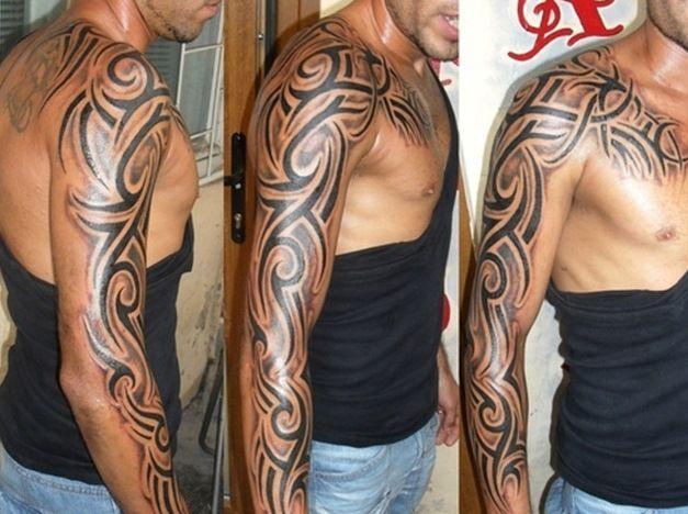 Mens Tattoo Sleeve Ideas Black And Grey: Half Sleeve Black Ink Tribal Tattoos For Men