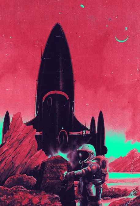 red sky #space #art #astronaut #scifi #sciencifiction