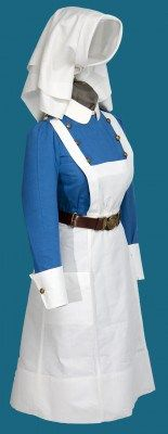 """""""Nursing Sister's Apron, Royal Canadian Army Medical Corps (RCAMC)."""" This uniform belonged to Nursing Sister Miriam Hartrick who served in England, France, and Italy. #ww2 #cdnhstory"""