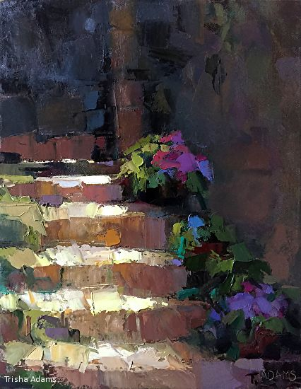Sun-Streaked Steps by Trisha Adams Oil ~ 12 x 9