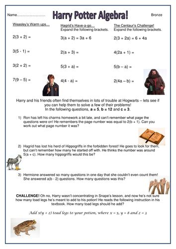 worksheet - harry potter algebra - bronze.docx