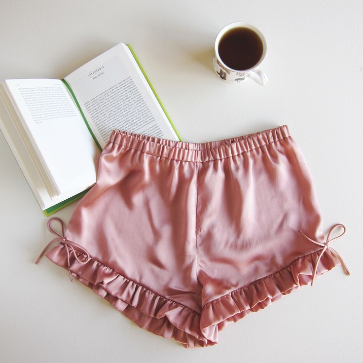 Plume Clothing. Pink silk satin pyjama shorts. Handmade in Melbourne.