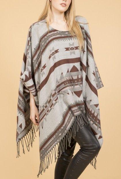 Ponchos   Jayley Grey Aztec Poncho