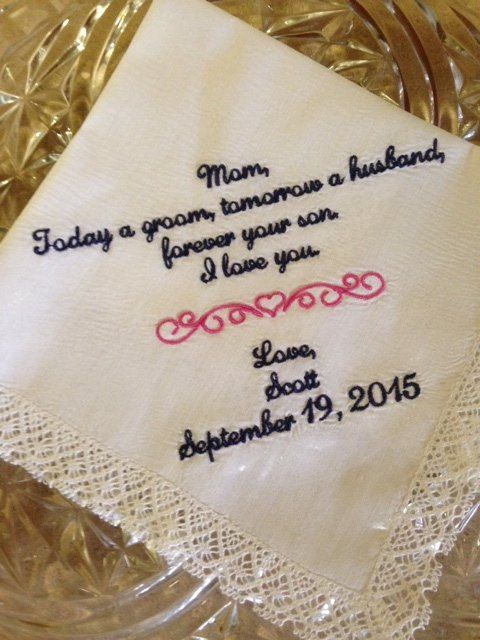 Parent gift for wedding - mother of the groom handkerchief hankerchief for mother in law to be by SimplyEmbroidered on Etsy