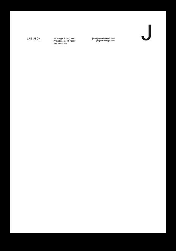 jae jeon : j // letterhead