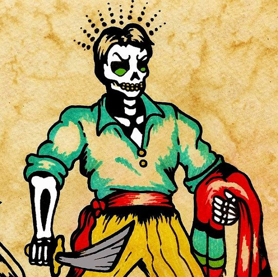 Day of the Dead Tattoo Art EL VALIENTE Loteria by illustratedink