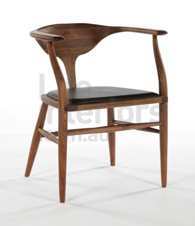 Peking Leather Dining Chair in Walnut