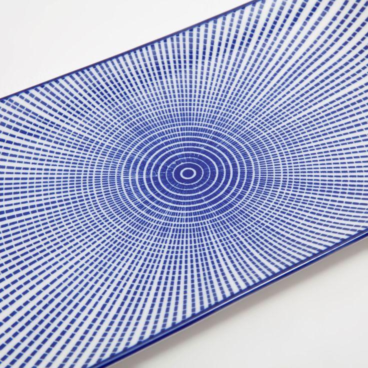Ürün görseli 3 Mavi çizgili dikdörtgen porselen servis tabağı