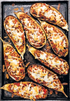 Rick Stein's Lamb stuffed Aubegines with Manchego Cheese (Use paleo friendly tomato sauce)