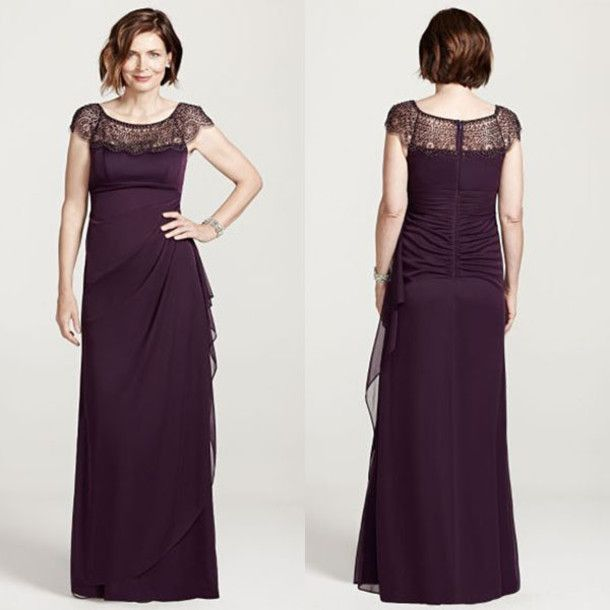 Mother Of The Bride Dresses 2016 Lace Sheer Scoop Neck Capped Sleeves Empire Long Wedding Guest Gowns Dark Grape Chiffon Ruched Women Dress